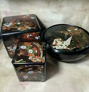 2 Vintage 3-tier Asahi Japan Lacquerware Jewelry Boxes And 1 Round Spinning One