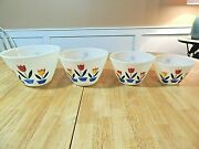 1950and039s Vintage Fire King Oven Ware Four Tulips Nesting Bowl Set Ex++