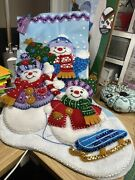Bucilla Felt Christmas Stocking Kits 18inch Finished Completed Snow Family Portr