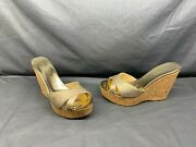 Jimmy Choo Perfume Textured Leather Wedges Size 7 Champagne Display Model