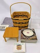 Longaberger Jw Collection Mini Two Pie Basket Liner Protector Riser Dish Card