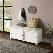 Durable White 19.3'' H X 46.8'' W X 15.3'' D Wood Storage Bench With 2 Cabinets