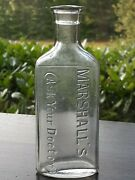 Antique Marshall's Ask Your Doctor Medicine Apothecary Cure Drug Bottle