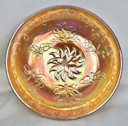 8033 Waterlily And Dragonfly Marigold Australian Carnival Glass 11 Float Bowl