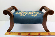 Antique Foot Stool Carved Rolled Wood Arms Needlepoint Fleur-de-lis Cushion