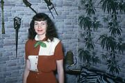 35mm Slide 1950s Red Border Kodachrome Pretty Woman Jungle Medieval Themed Room