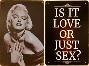 Two 8x12 Tin Signs Marilyn Monroe Sexy Movie Star Actress Love Candle Funny Wall