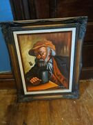 Bissell Phelps Tavern Pipe Signed Oil Painting Antique Wood Picture Frame 16x12