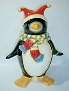Vintage Oneida Penguin Cookie Jar Winter Joy With Scarf And Jester Hat Christmas