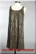 St John Knits Couture Silk W/sequins Flair Dress Slate Brown Size 10 Nwt 1695