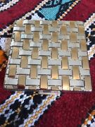 Vtg Charles Of The Ritz Gold Tone Basket Weave Design Powder Compact W Mirror