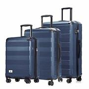 Luggage Set 3 Piece - Lightweight With Usb Port Hardside Carry On Suitcase - ...
