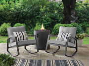 Mainstays Asher Springs 2-piece Steel Cushioned Rocking Chair Set Grey