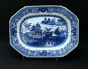 18th C Chinese Porcelain Blue And White Landscape Platter