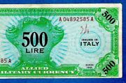 Ex Rare Italy M16b 500 Lire Military Currency Wwii English Only 1943 Xf+/au