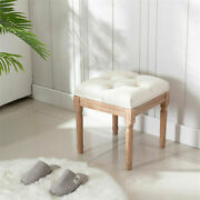 Square Dresser Chair Small Vanity Stool Fabric With Rubber Wood Leg Beige 1 Pcs