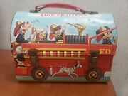 Vintage Disney Character Fire Fighters Dome Lunch Box With Thermos - 1969