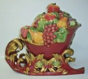 Fitz And Floyd Holiday Classics Renaissance Sleigh Tureen With Ladle And Lid