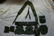 Us Military Issue Alice Field Gear Belt Suspenders Ammo Pouches Canteen Large