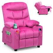 Honeyjoy Kids Youth Recliner Chair Velvet Fabric W/cup Holder And Side Pocket Pink