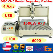 Usb 1500w Vfd Cnc 6090 Router Engraver Metal Wood Cutter Milling Machine 4 Axis