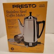 Presto Electric Percolator 12 Cup Stainless Steel Coffee Maker Pot Portable New