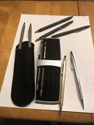 Lot 9 Cross Chrome Gold Filled Black Colored Pens And Pencils Fountain Working