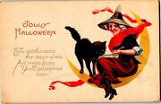 Vintage Stecher Litho Company Old Witch And Black Cat On Moon Halloween Postcard