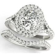 G/si 1.60 Ct Oval Diamond Engagement Halo Ring And Matching Band 14k White Gold