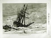 Old Antique Print 1882 Eira Ship Expedition Sinking Ice Boats Allen Young 19th