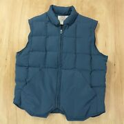 Orvis Goose Down Vest Small Blue Zip Front Puffy Puffer
