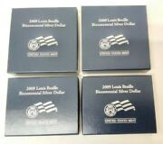 Two Sets 2009 Us Mint Braille Bicentennial Unc And Proof Commemorative 1 Coin Mg