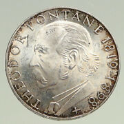 1969 G Germany Theodore Fontane Antique Vintage Proof Silver 5 Mark Coin I94493