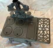 Crescent Cast Iron Minature Toy Salesman Sample Wood Stove And Accessories