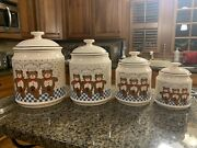 Vintage B And D 4 Canisters Cookie Jar 3 Dance Bears Chef Hat Japan Ceramic W/lids