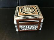 """Antique Victorian Ring Box With Mother Of Pearl Inlay 2 1/2 """" Square"""