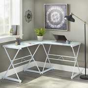 Mainstays Atrium Metal And Glass L-shaped Corner Computer Desk Frosted White Gl