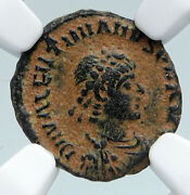 Valentinian Ii Ancient 388ad Antique Old Roman Coin Staurogram Wreath Ngc I89529