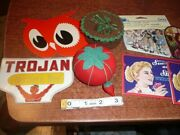 Replica And Vintage Hand Needle Cards Tomato Pin Cushion Tape Measure Button