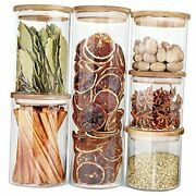 Glass Jars With Wood Lids Airtight Glass 6 Sets 54oz 32ozx2 23ozx3
