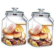 1.3 Gallon Wide Mouth Glass Jars With Lids Heavy Duty Glass Canisters With