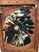 Antique Painting On Leather Of Native American Chiefandnbsp