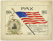 Rare Antique Drawing-peace-flag-usa-president Wilson-wwi-marcovici-ca. 1918