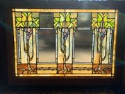 Amazing Arts Crafts Stained Leaded Glass Window 1 Of 2 - Circa 1900 40 X 29