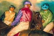 Jay Boyd Kirkman Jockeys Before The Start Signed Canvas Limited Edition Of 50