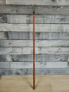 Vintage Garden Hand Tool Cultivator Old Farm Iron Claw Rakes Wood Handles 3ft