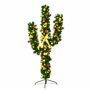 6ft Pre-lit Cactus Artificial Christmas Tree W/led Lights And Ball Ornaments