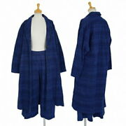 Issey Miyake Heart Haat Dyed Dobby Woven Set-up Suit Indigo Secondhand Women And039s
