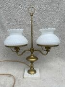 Vintage Double Student Brass Table Lamp Milk Glass Shades Hob Nob Marble Base