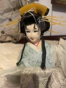 """Pristine Vintage Japanese Nishi Doll - Snow Queen, 17"""" On Wooden Stand 1950's"""